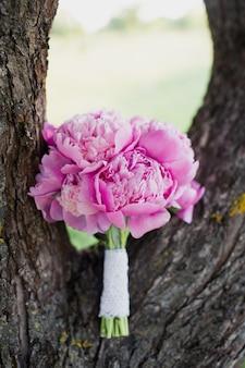 Um grande buquê de peônias rosa repousa no tronco de uma árvore