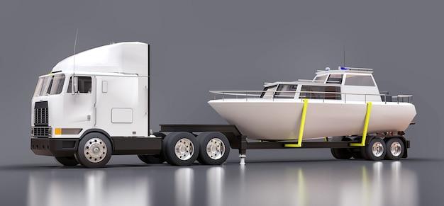 Um grande caminhão branco com reboque para transportar um barco em uma superfície cinza