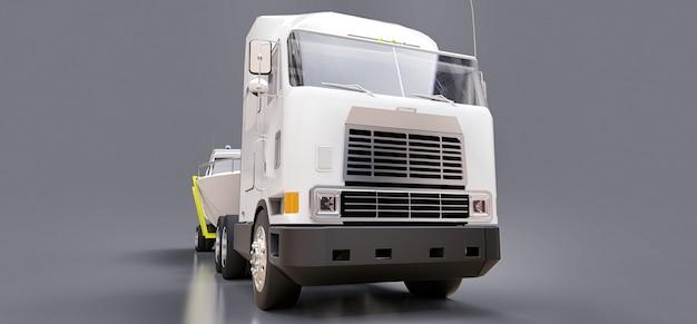 Um grande caminhão branco com um reboque para transportar um barco em uma superfície cinza