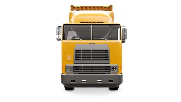 Um grande caminhão laranja retrô com uma parte de dormir e uma extensão aerodinâmica carrega um trailer com um contêiner marítimo