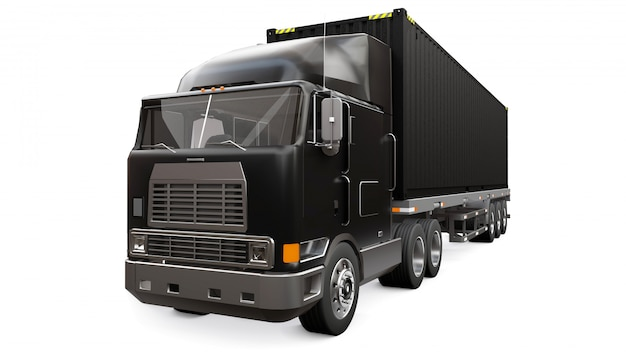 Um grande caminhão preto retrô com uma peça adormecida e uma extensão aerodinâmica carrega um reboque com um contêiner marítimo. renderização em 3d.