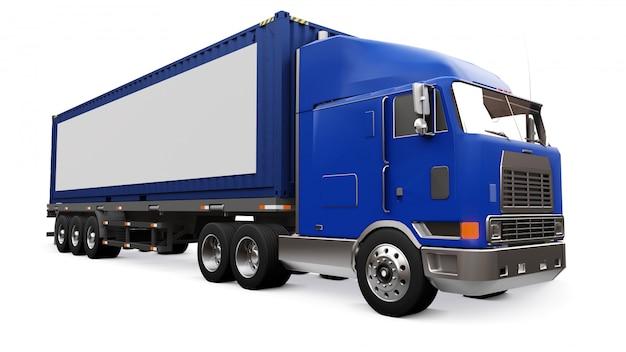 Um grande caminhão retrô com uma parte adormecida e uma extensão aerodinâmica carrega um reboque com um contêiner marítimo. ao lado do caminhão, há um cartaz em branco e branco para seu projeto. renderização em 3d.
