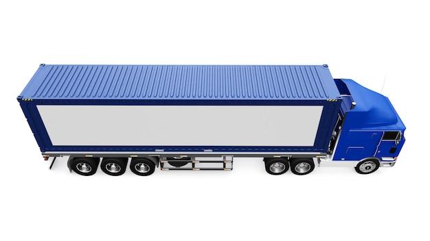 Um grande caminhão retro com uma parte de dormir e uma extensão aerodinâmica carrega um trailer com um container marítimo. na lateral do caminhão há um pôster branco em branco para seu projeto. renderização 3d.
