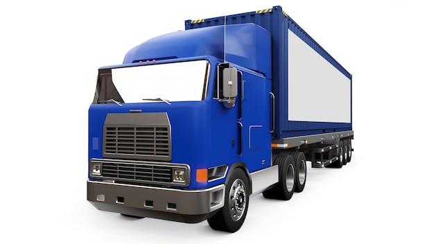 Um grande caminhão retro com uma parte de dormir e uma extensão aerodinâmica carrega um trailer com um container marítimo.