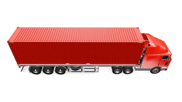 Um grande caminhão retrô vermelho com uma parte de dormir e uma extensão aerodinâmica carrega um trailer com um contêiner marítimo