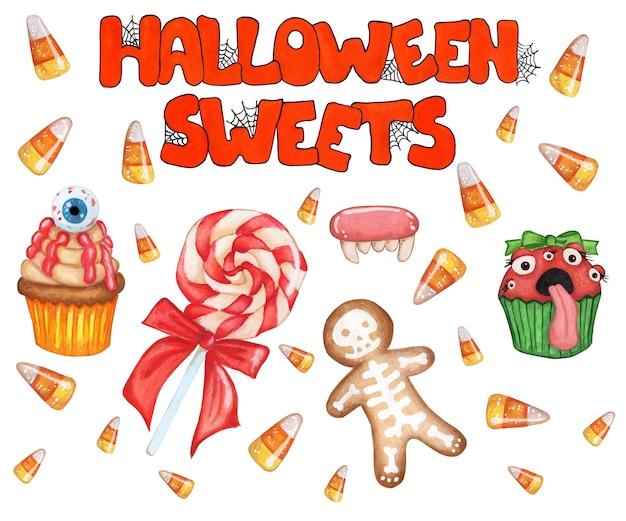 Um grande conjunto de doces e cupcake de pirulito de texto com olhos caramelos de pão de mel com doce de esqueleto