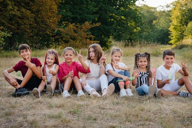 Um grande grupo de crianças alegres senta-se na grama do parque e sorri. jogos em um acampamento infantil.