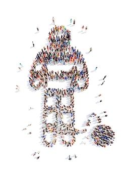 Um grande grupo de pessoas na forma de um homem isolado no branco