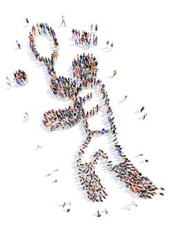 Um grande grupo de pessoas na forma de um homem praticando esportes isolado no branco