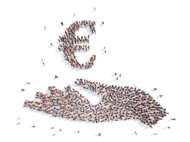Um grande grupo de pessoas na forma de uma mão com um sinal de dinheiro