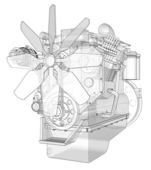 Um grande motor a diesel com o caminhão representado nas curvas de nível em papel milimetrado. os contornos da linha preta no fundo branco.