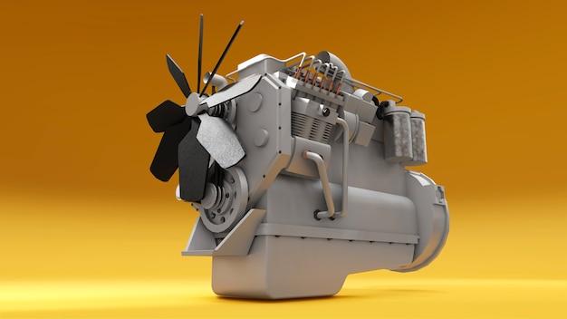 Um grande motor a diesel com o caminhão retratado. renderização 3d.