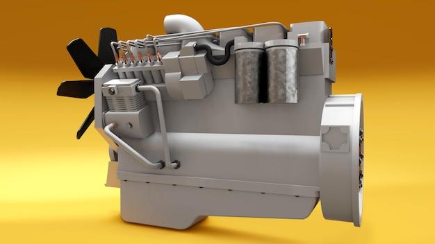 Um grande motor a diesel com o caminhão retratado. renderização 3d. Foto Premium