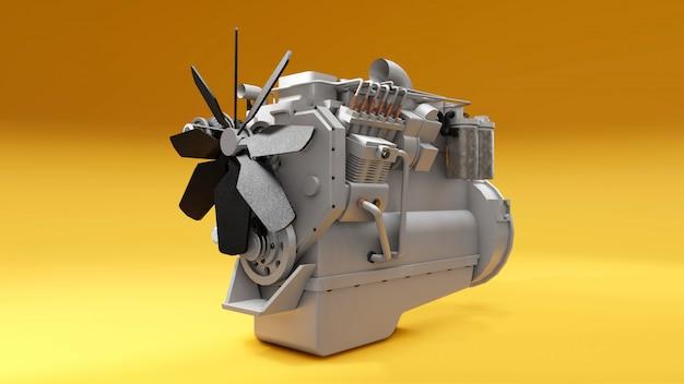 Um grande motor diesel com o caminhão representado. renderização em 3d.