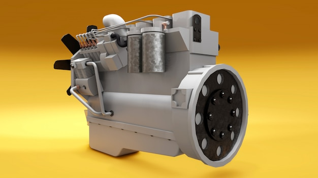 Um grande motor diesel com o caminhão representado. renderização em 3d. Foto Premium