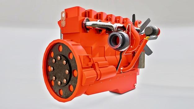 Um grande motor diesel com o caminhão representado