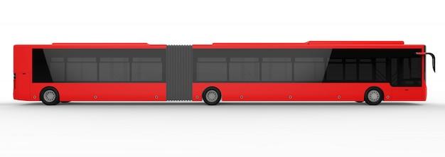 Um grande ônibus urbano com uma parte adicional alongada para grande capacidade de passageiros
