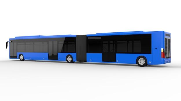 Um grande ônibus urbano com uma parte alongada adicional para grande capacidade de passageiros durante a hora do rush ou transporte de pessoas em áreas densamente povoadas