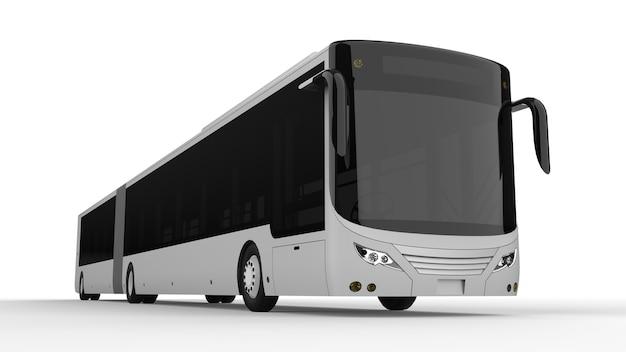 Um grande ônibus urbano com uma parte alongada adicional para grande capacidade de passageiros durante a hora do rush