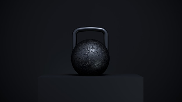 Um grande peso preto em um pódio preto. equipamentos esportivos renderização em 3d