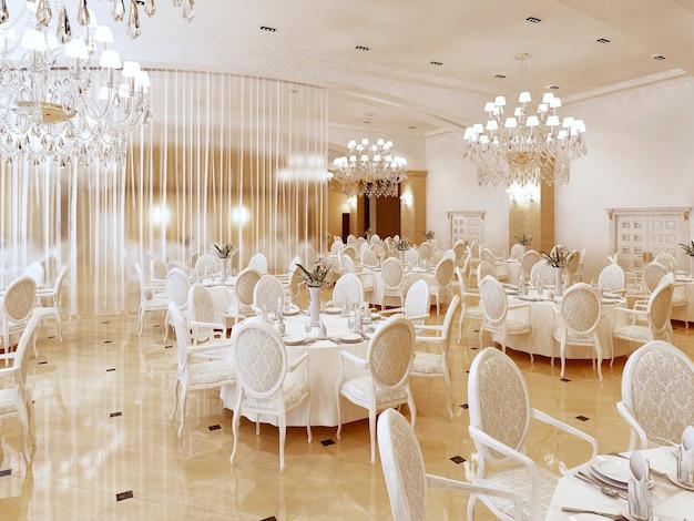 Um grande restaurante e um salão de baile em um hotel de luxo. o design interior é executado em estilo clássico. 3d render.