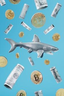 Um grande tubarão branco em torno da criptomoeda e do dinheiro em um fundo azul.