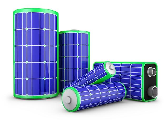 Um grupo de baterias com painéis solares