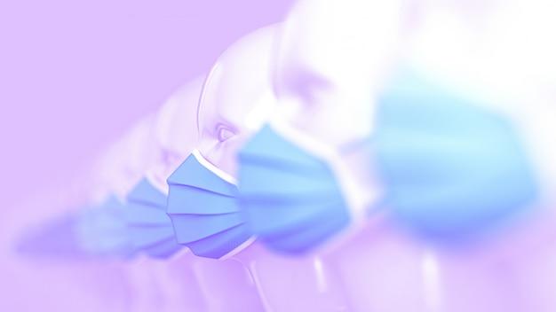 Um grupo de cabeças de manequim branco moda feminina em pé em uma fileira em máscaras médicas azuis brilhantes para prevenção de coronavírus