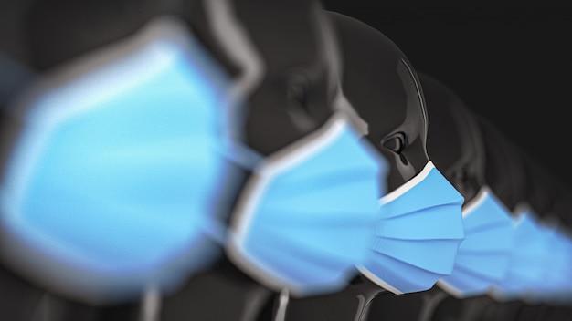 Um grupo de cabeças de manequim preto brilhante feminino em pé em uma fileira em máscaras médicas azuis brilhantes para prevenção de coronavírus