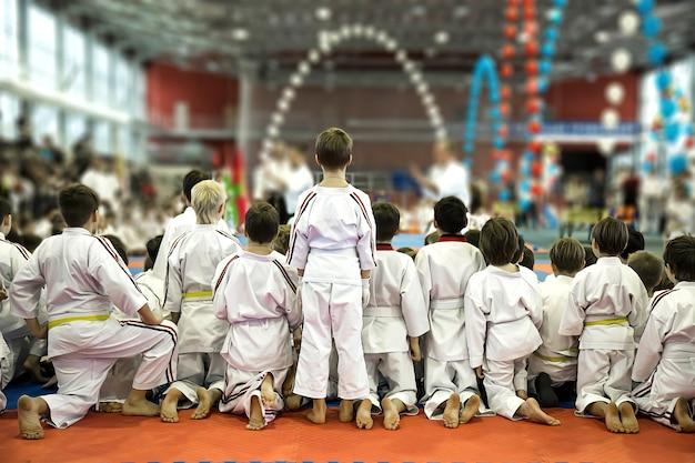 Um grupo de crianças de quimono assista a uma demonstração de desempenho de mestres de caratê