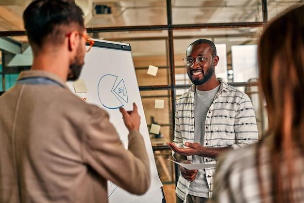 Um grupo de jovens empresários está discutindo um plano de negócios em um quadro negro em um escritório moderno. uma equipe de hipster de sucesso em um espaço de coworking. freelancers.