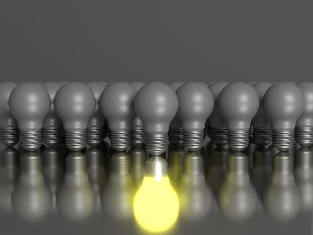 Um grupo de lâmpadas com seu próprio reflexo sul. cena 3d