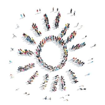 Um grupo de pessoas em forma de sol, desenho animado, flash mob.