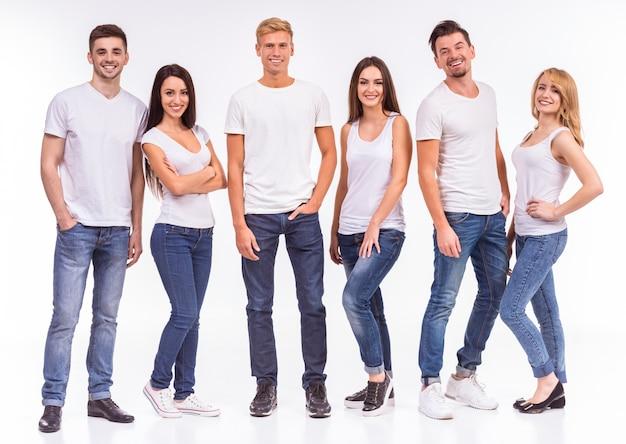Um, grupo jovens, sorrindo