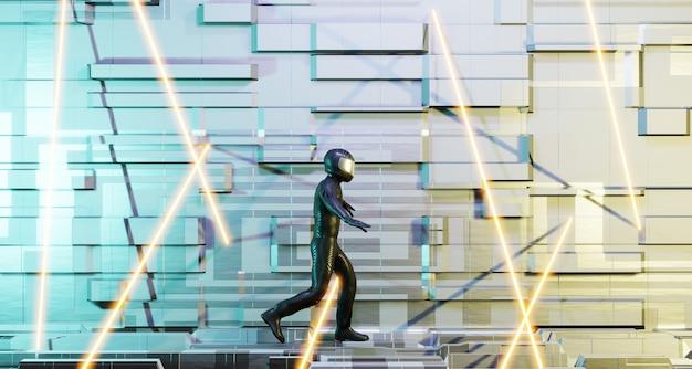 Um homem de terno de motociclista, um astronauta no interior de ficção científica usa proteção a laser