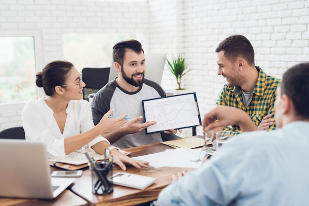 Um homem demonstra gráficos de negócios para os colegas