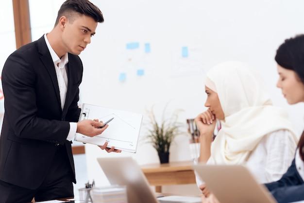Um homem faz uma reivindicação a uma mulher que veste um hijab.