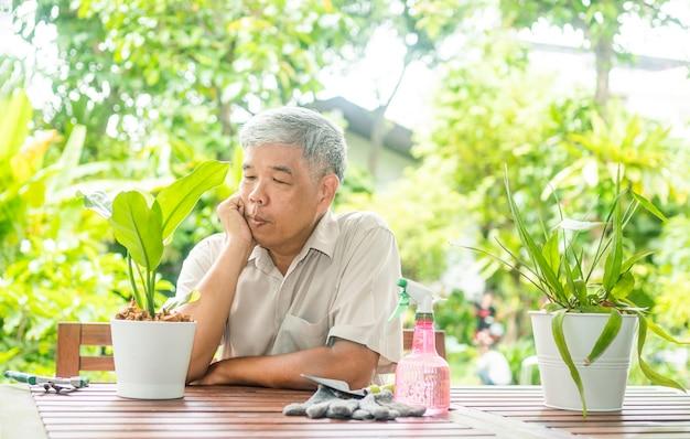Um homem idoso asiático feliz e sorridente está plantando um hobby em uma casa após a aposentadoria. conceito de um estilo de vida feliz e de boa saúde para os idosos.