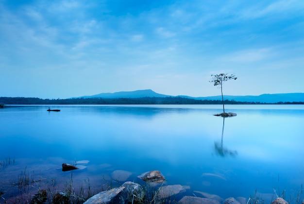 Um homem que pesca no barco perto da árvore. a água azul no lago é muito lisa.