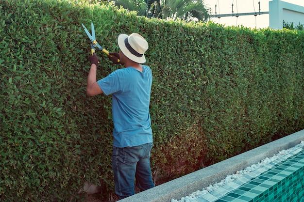 Um homem que poda ramos no jardim