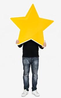 Um, homem, segurando, um, estrela, ícone