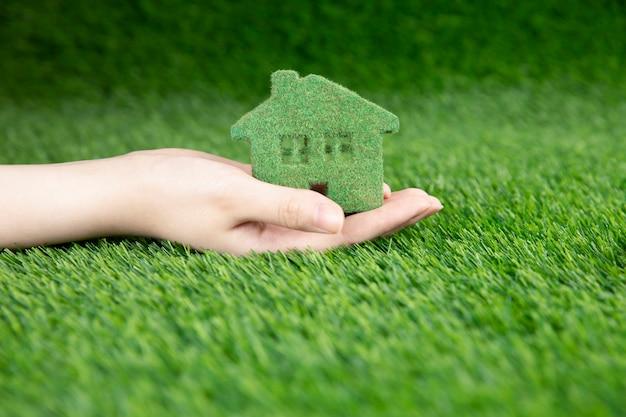 Um homem tem nas mãos uma pequena casa ecológica em um fundo de grama.