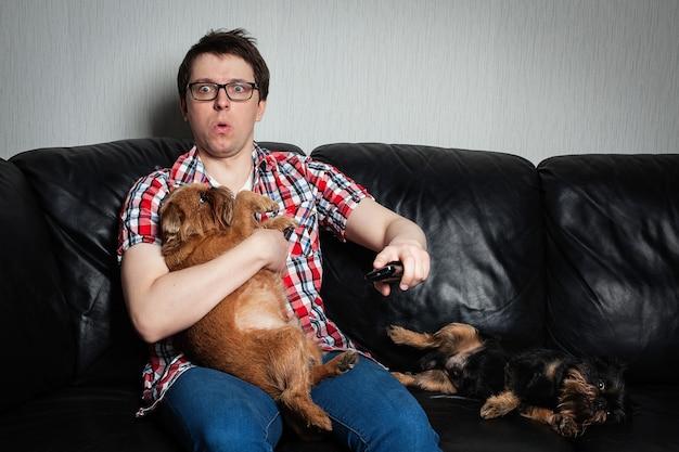 Um indivíduo novo que presta atenção à tevê em casa com cães.