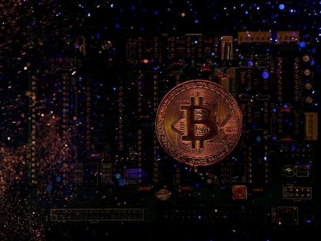 Um inovador efeito bitcion da moeda digital por um ótimo efeito de iluminação.