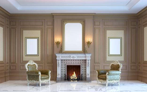 Um interior clássico com painéis de madeira e lareira. 3d rendem.