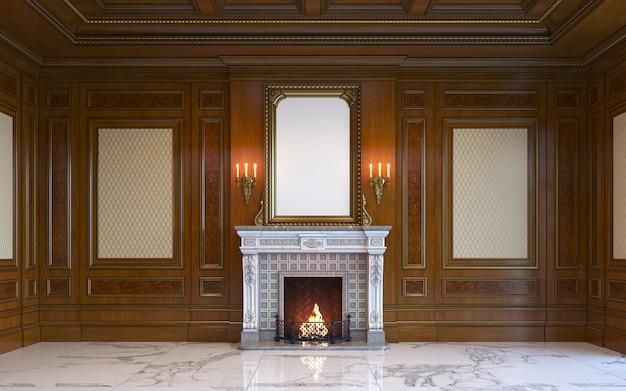 Um interior clássico com painéis de madeira e lareira. renderização 3d.