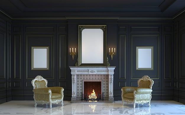 Um interior clássico é em tons escuros com lareira. renderização 3d.