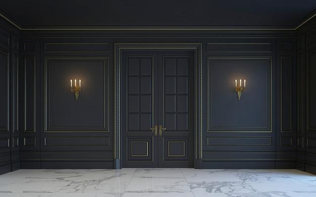 Um interior clássico é em tons escuros. renderização 3d.