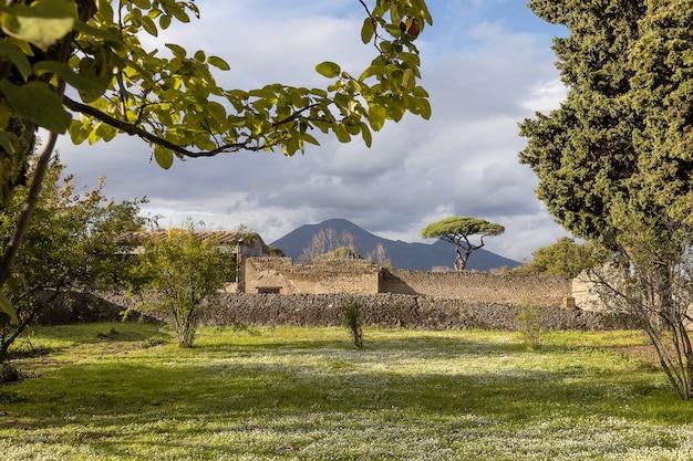 Um jardim com gramado verde de uma das vilas destruídas pela erupção do vesúvio em pompéia