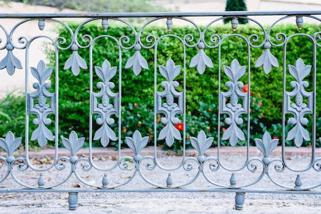 Um jardim privado separado da rua por uma cerca de metal.
